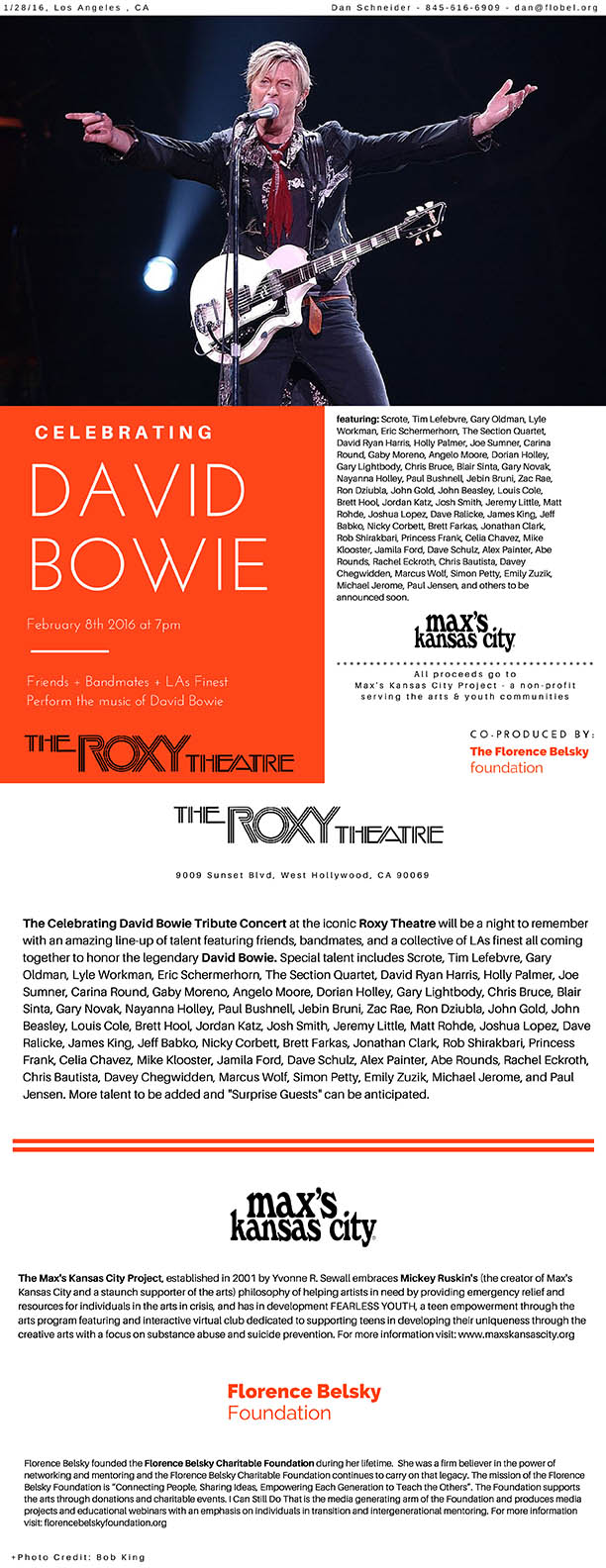 David Bowie Press Release